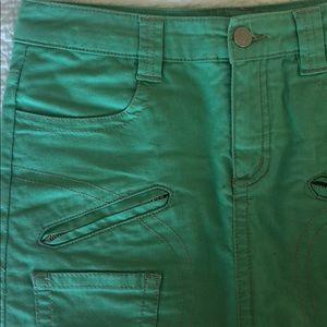 BCBGMaxAzria Skirts - BCBGMAXAZRIA Mint Green Mini Jean Skirt